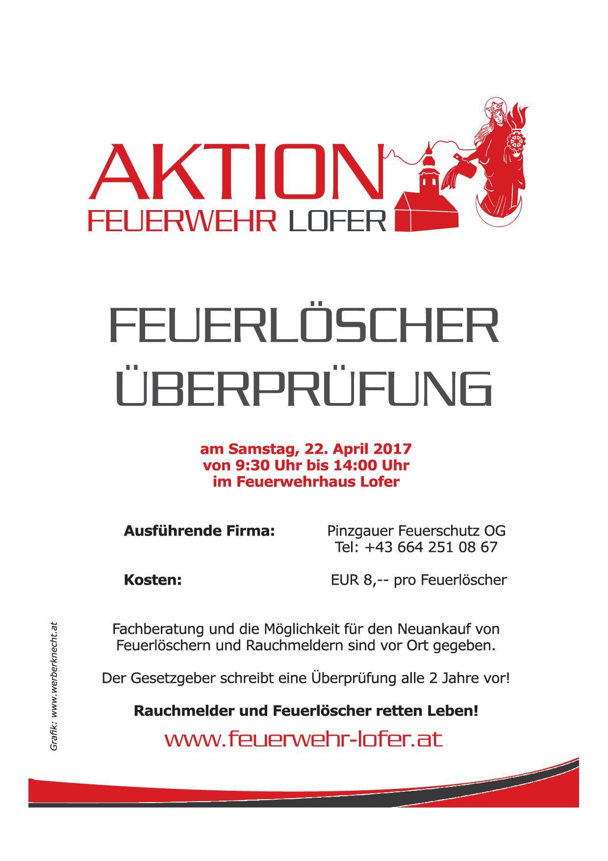 Feuerlöscherüberprüfung, am 22. April 2017