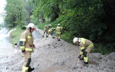 Straße Überflutet Strub, am 29.07.2019